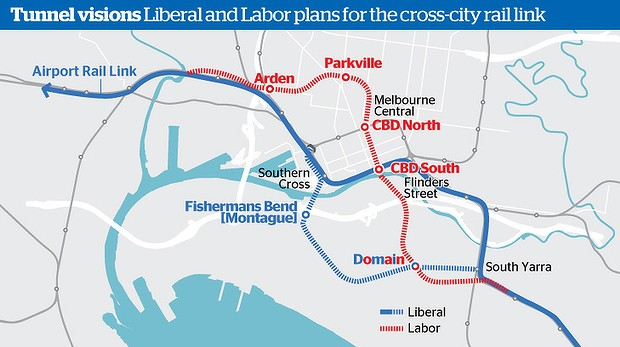 Map of proposed routes of cross-city rail tunnel